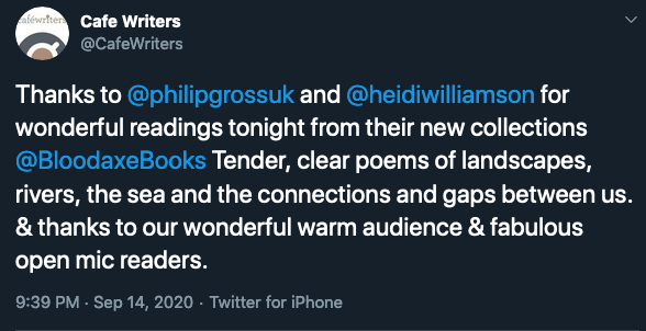 Twitter review of 'tender, clear poems of landscape, rivers, sea and the connections and gaps between us